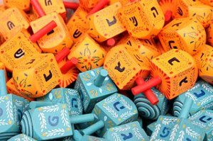 Orange and blue dreidels