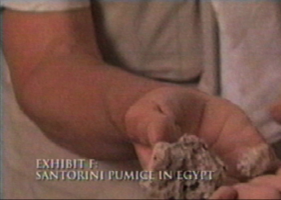 "Manfred Bietak holding pumice identified as Santorini/Thera pumice, from ""The Exodus Decoded"""