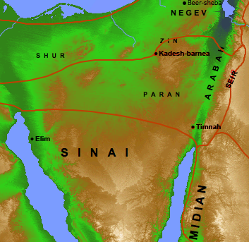 Possible routes of the exodus as shown in the Accordance atlas