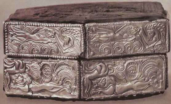 Box from Grave V, with swirly patterns and hunting motifs