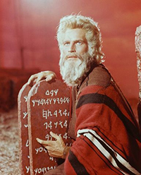 Charlton Heston as Moses in Cecil B. DeMille's The Ten Commandments