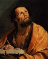 A portrait of St. Luke looking heavenward and writing in a book