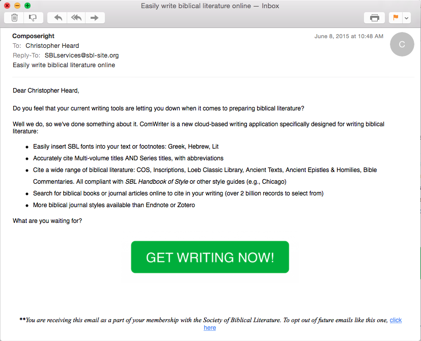 Screen shot of an e-mail advertising help writing biblical literature